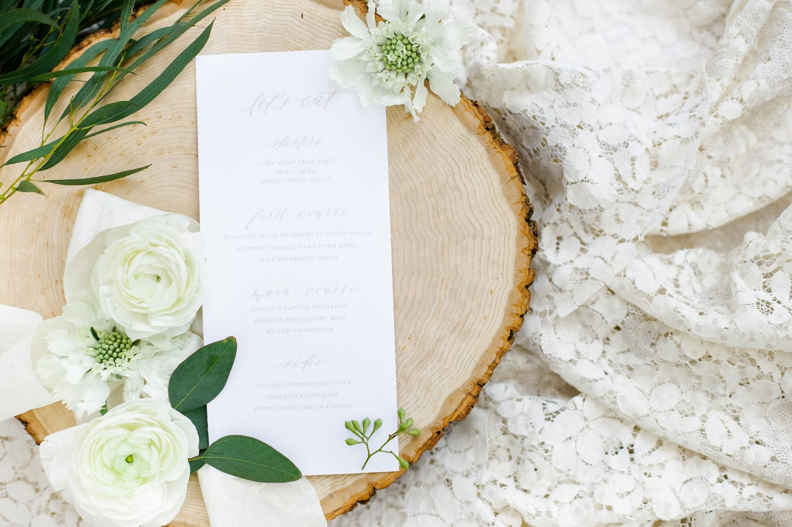 Tuscan Inspired Wedding Menu