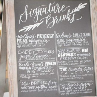 Our Work - Signature Drinks Sign