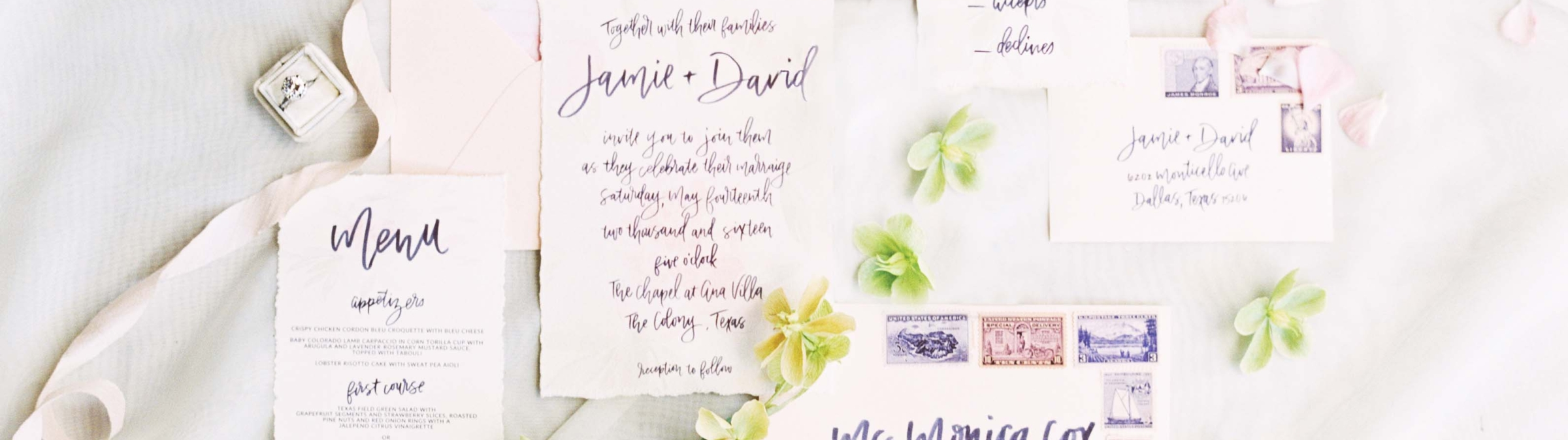 Custom Calligraphy Wedding Invitation Suite